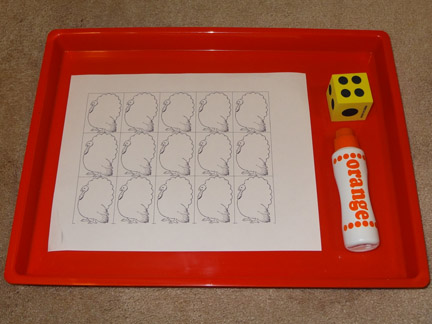 Thanksgiving-themed learning - Turkey math with dice >> Gift of Curiosity