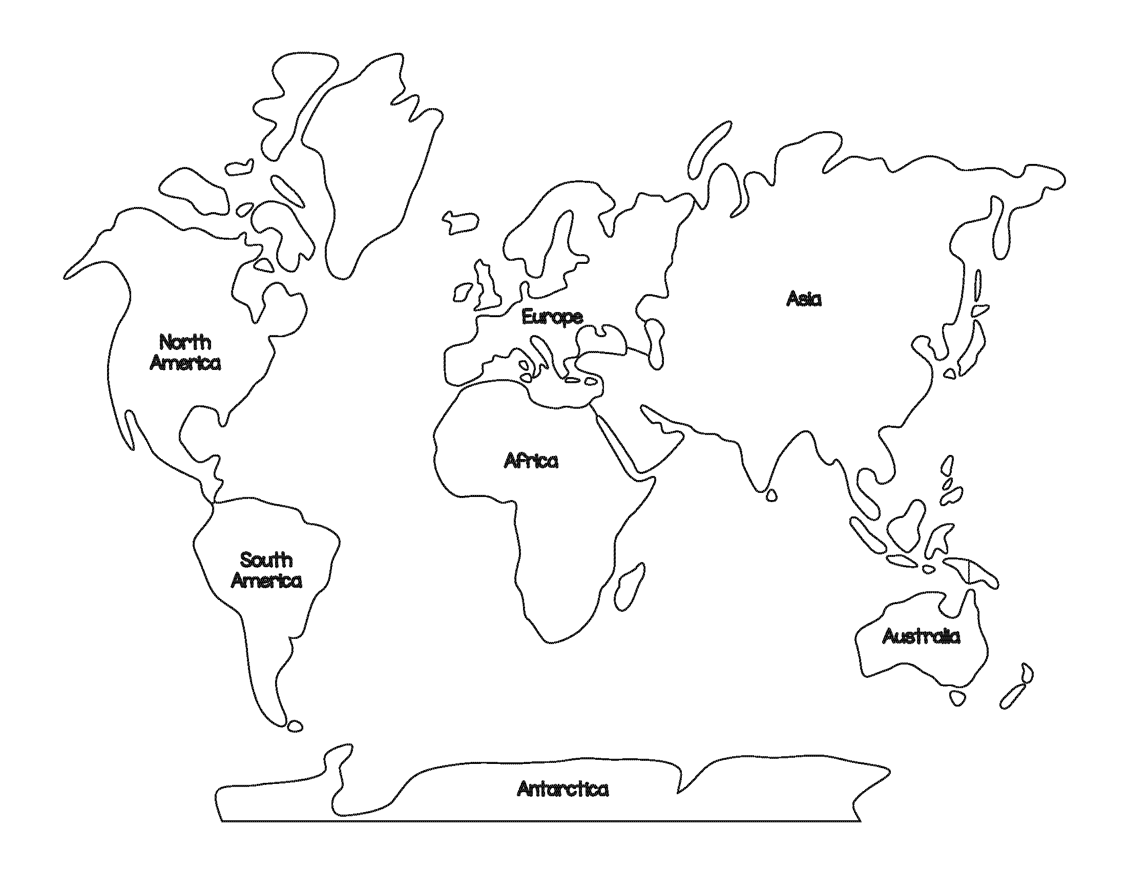 Continent Shapes Coloring Pages